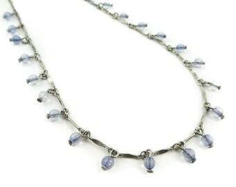 Vintage Pale Blue, Bead Necklace, Lucite, Dangles, Silver Tone, STG107