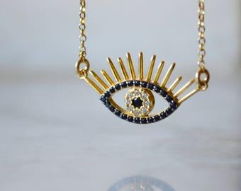 Evil eye necklace, gold evil eye necklace, cz evil eye necklace, rhinestone evil eye necklace, crystals evil eye necklace
