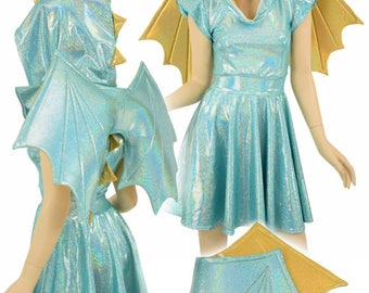 Winged Seafoam Holographic Flip Sleeve Hoodie Skater Dress, Gold Sparkly Jewel Spikes & Hood Liner TWOTONE WINGS INCLUDED - 155003