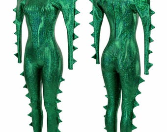 Green Fish Scale Holographic Spiked Mega Sharp Shoulder Crew Neck Back Zipper Metallic Rave Festival Drag Catsuit - 155064