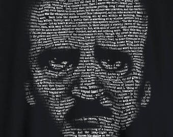 Poe t-shirt Edgar Allan Poe Nevermore Raven text portrait tshirt - great for students!
