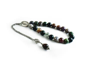 Worry Beads, Greek Komboloi, Moss agate and silver tone metal beads, Chain Komboloi