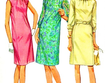 Simplicity 7099 Uncut Sewing Pattern Vintage 1960s Mod Misses' Princess Lined One Piece Dress