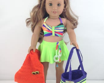 """18T At The Beach - Swimsuit, Beach Tote, Towel, Flip Flops and Sunglasses  for 18"""" Dolls like American Girl (R) Dolls like Lea and Tenney"""