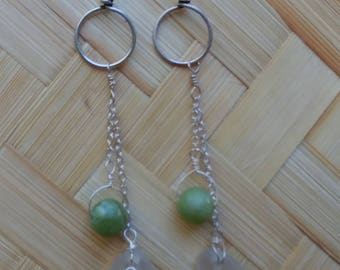 Green JADE and frosted white seaglass earrings on sterling silver