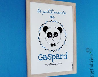 Poster / Panda frame - personalised A4