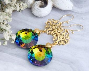 Rainbow earrings, Swarovski earrings, Vintage crystal earrings, Gold earrings, Victorian filigree earrings, Green earrings, Sterling Silver