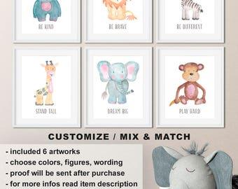 Watercolor baby animal nursery prints, Watercolor animal prints, Safari nursery decor, Zoo animal nursery, Nursery animals Print/Canvas/Digi
