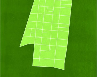 Downtown Frederick Maryland Map: Green 18x24