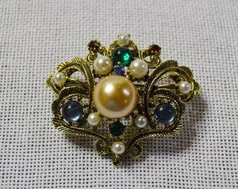 Vintage  Faux Gemstone Brooch Gold Tone Metal Pearls Opals Rhinestones Costume Jewelry PanchosPorch
