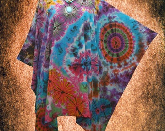 Psychedelic Wearable Art Hand dyed Beach Cover Up Poncho Top