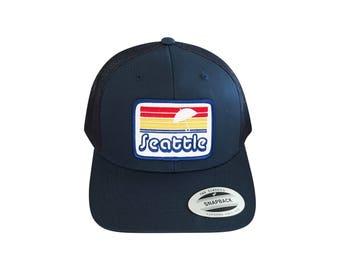 Adult Seattle hat. Curved Brim. Snap back. I love the northwest. Vintage style.