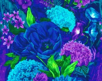 C3898 'Midnight' Hydrangea Floral Panel Also has Morning Glory, Pansies etc.Perfect for Art Quilting/Thread Painting/Free Machine Embroidery