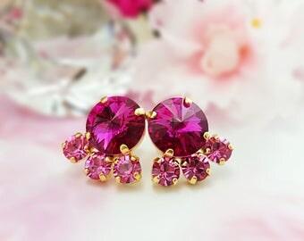 Pink Crystal Earrings ~ Swarovski Cluster Earrings ~ Fuchsia Rhinestone Earrings ~ Hot Pink Studs ~ Pink Gold Earrings ~ Gifts for Her E3466