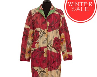 WINTER SALE - Small size - Classic Kantha Jacket - Raspberry Red with Beige and Black