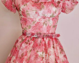 1950s party dress with rose chiffon overlay / bows and belt