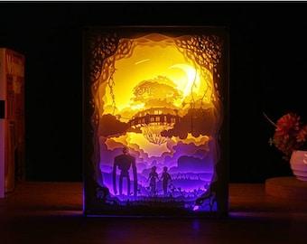 Studio Ghibli Castle In the Sky Laputa Handmade Paper Craft 3D Night Light Shadow Box Music Box Artwork Frame Decoration DIY