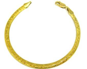 14k Gold Herringbone Bracelet Italy Patterned Herringbone Diamond Cut Design