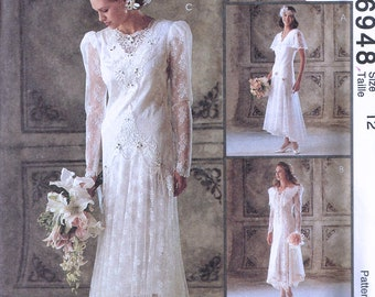 Size 12 Wedding Dress Sewing Pattern - Drop Waist Flapper Style Wedding Dress - Lace Retro Bridal Gown - Alicyn Exclusives - McCalls 6848