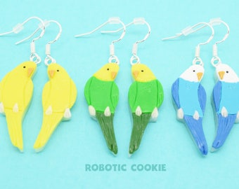 Budgie Earrings // Polymer Clay, Budgerigar, Parakeet, Sterling Silver, Bird Jewellery, Bird Earrings, Animal Earrings, Gifts for Bird Lover