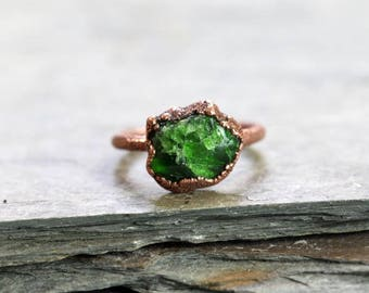 Chrome Diopside Ring Electroformed Copper Ring Green Stone Ring Bright Green Stone Polished Diopside