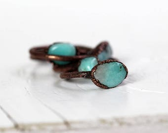 Amazonite Ring Electroformed Copper Ring Stone Ring Natural Stone Robin Egg Blue Spring Jewelry Sky Blue Stacking Ring