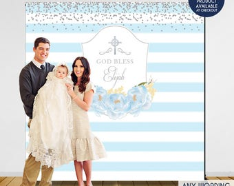 Baptism Backdrop, First Communion Backdrop, Personalize, Christening Backdrop, baptism backdrop, boy first communion, BAR0002