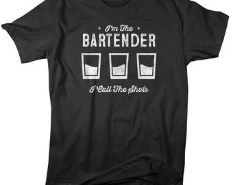 Shirts By Sarah Men's Funny Bartender T-Shirt I Call The Shots Distressed Gift Idea Tee
