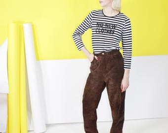 Brown Leather Boyfriend Pant / High Rise Tapered Leg Suede Leather / Large 30 inch waist