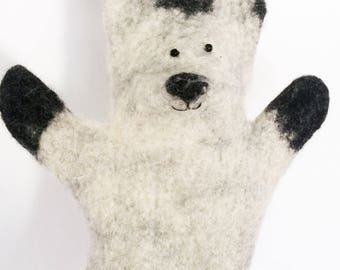 White Hare hand puppet wet felted ready to ship