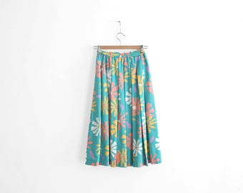 Vintage Summer Skirt - Floral print - Handmade - Cotton