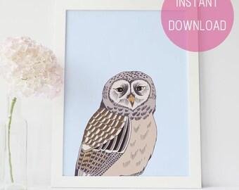 Woodland Nursery, Art Prints, Owl Art Print, Printable Art, Forest Animals, Peekaboo Print,  Baby Animal Artwork, Nursery Printable