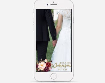 Marsala Wedding Snapchat Geofilter, Custom Wedding Filter, Marsala & Gold Geofilter, Fall Wedding Geofilter, Floral Snapchat Filter