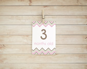 Printable Monthly Baby Milestone Cards - Brown/Pink/Gold Glitter (5x7) - Instant Download