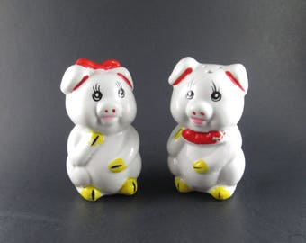 Vintage Boy and Girl Pig Ceramic Salt and Pepper Shakers Red White & Yellow