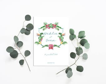 Tropical Wedding ceremony notebook cover - Tropical Wedding - Wedding program notebook cover - Wedding program - Tropical Program - Exotic