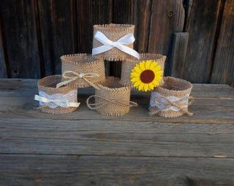Wedding napkin rings, wedding table napkin rings, rustic ceremony decoration, wedding burlap towels, wedding ceremony napkin rings