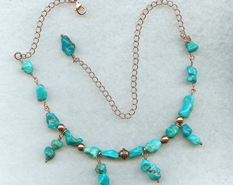 Turquoise Necklace, Turquoise and Copper, Collar Style, Adjustable Length,  American Turquoise