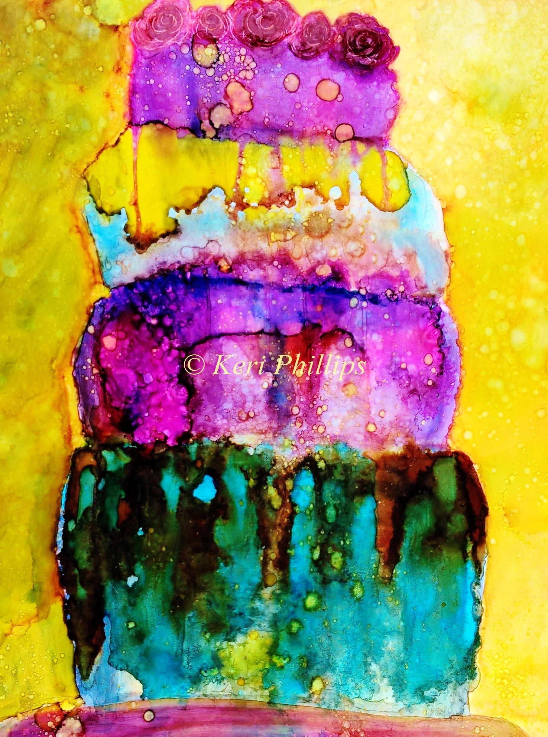 Cake Art Printer : Whimsical Alcohol Ink Cake Art Print Alcohol Ink Art