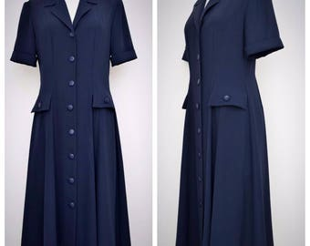 WEILL Vintage Short-Sleeve Button-Front Navy Blue Dress, Mid-Calf Length, Size M
