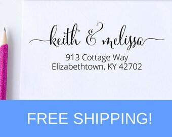 Self Inking Return Address Stamp, Handwritten Script Address Stamp, Custom Address Stamp, Wedding Stamp For Invitations  (D127)