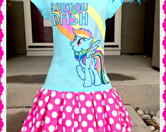 girls MLP Rainbow Dash My Little pony dress 10/12 and 14/16 ready to ship