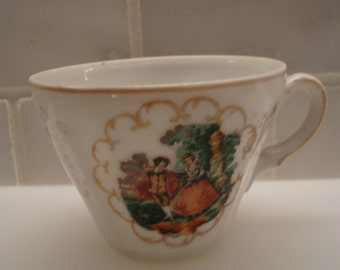 Vintage Courting Scene, Miniature Teacup - Made in Japan - Excellent Condition!!
