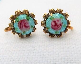 Vintage Guilloche Enamel screw back EARRINGS ~ Blue enamel w/ pink cabbage roses ~ Prong set clear Rhinestones ~ Vintage 1960s ~ Flower Girl