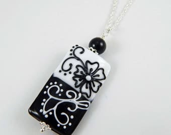 Lampwork Bead Pendant. Lampwork Bead Necklace. Focal Bead. Glass Bead. Black and White. Floral Design. Gift for Her.