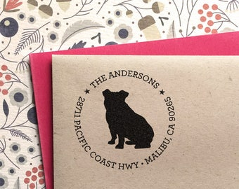 Custom Address Stamp - English Bulldog Return Address Stamp, customized gift for holidays, housewarming and weddings, school