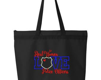 Police Tote Bag/ Embroidered Real Women Love Police Officers Tote Bag/ Police Wife Bag/ Police Girlfriend Bag/ Police Mom Bag