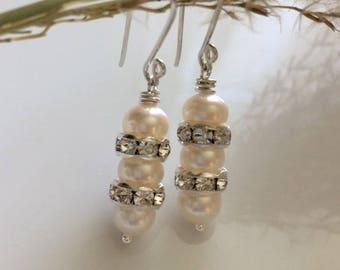 White Pearl Earrings  Fresh Water Pearl Earrings  Bridal Earrings  Sterling Silver