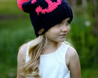 Anchor Hat, Nautical, Slouchy Hat, Girls Hat, Boys Hat, Hat with Pompom, Knit Hat, Women's Hat, Anchor, Custom Hat, Winter Hat, Kids Hat