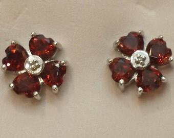 14 K white gold garnet earrings